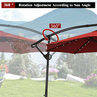 10 Foot Umbrella with Solar Powered LED made of Aluminum for Outdoor Patio and Shade