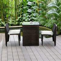 Outdoor Wicker Patio Set Stores Away Easily (3 Piece)