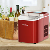Portable Ice Maker Machine Countertop Residential w/ LCD Display & Ice Scoop Red