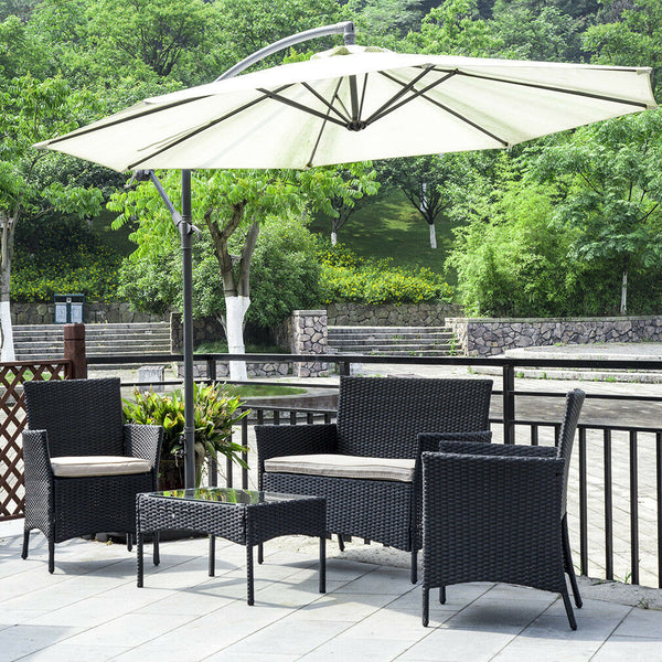 Rattan Outdoor Furniture Set (4 Piece) with Cushioned Seating Wicker Outdoor Furniture Set