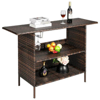 Outdoor Rattan Wicker Patio Bar Counter Table with Shelves and Steel Glass Racks