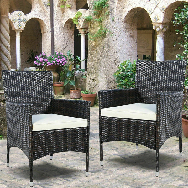 Outdoor Rattan Wicker Dining Seats with Cushions (Set of 2)