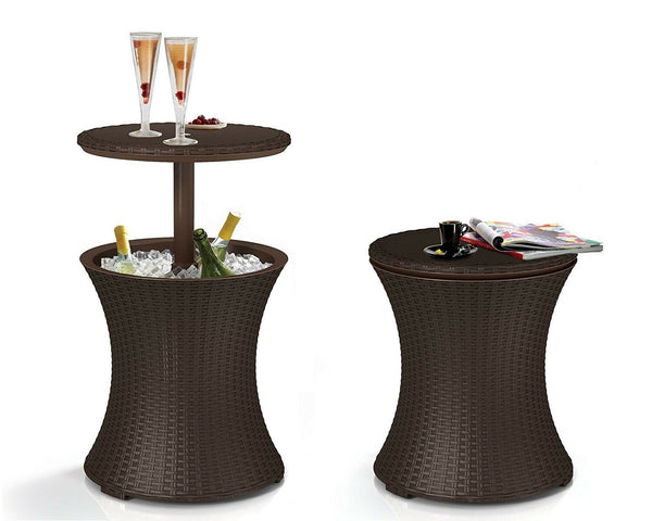 Rattan Wicker Cooler Bar for Outdoor Patio Furniture with 7.5 Gallons