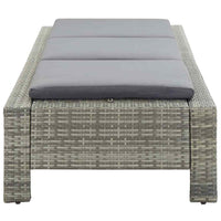 Rattan Grey Sun Bed with Grey Cushion Lounge Chair Sofa for Outdoor