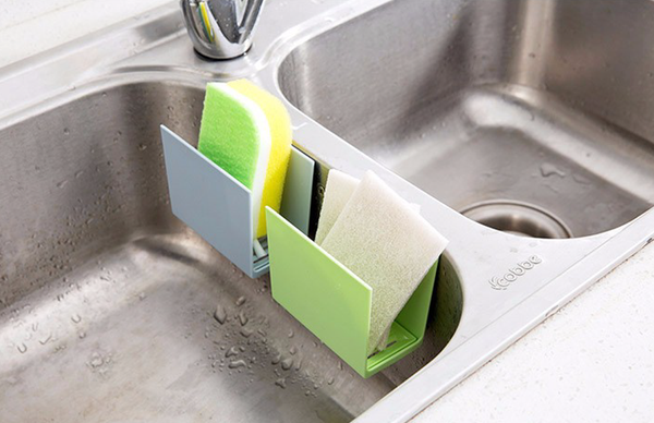 Kitchen Sink Sponge Holder/Rack with Suction Wall Mount - ModernKitchenMaker.com