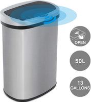 Touchless Trash Can Automatic Touch Free Kitchen Trash Can 13 Gallons Stainless Steel