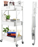 Foldable Rolling Cart Utility Cart with Wheels Collapsible Carts
