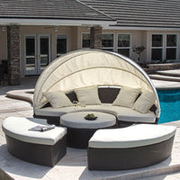 2 in 1 Sunbed + Sofa Outdoor Wicker Retractable Canopy - ModernKitchenMaker.com