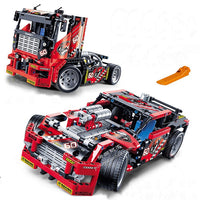 Race Car Transformable to Race Truck Building Block Set 608 Pieces Buliding Block Compatible - ModernKitchenMaker.com