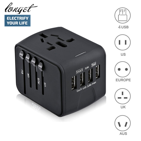 Universal Travel Power Adapter 4 USB Usable Worldwide - ModernKitchenMaker.com