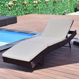 Patio Sun Bed Adjustable Wicker Lounge Chair With Cushion - ModernKitchenMaker.com