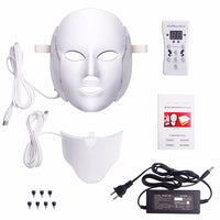 7 Colors Light LED Facial Mask With Neck Skin Rejuvenation Face Care Treatment Anti Acne Therapy Whitening Skin Tightening - ModernKitchenMaker.com