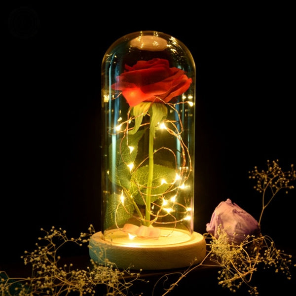 Beauty and the Beast Rose Lamp with Glass Dome and Wooden Base