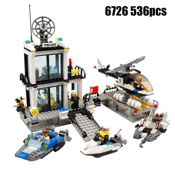 Compatible Lego Police Station Set with Under Cover Office within the Police truck.  Gate keeper Building, Motorcyclist, Boat, Antenna Tower and More - ModernKitchenMaker.com