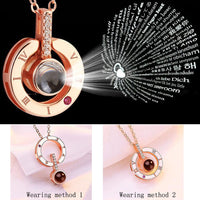 Round Shaped I LOVE YOU In 100 languages Projection Necklace - ModernKitchenMaker.com