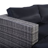 6 Piece Outdoor Furniture Set Gray Rattan Couch with Black Cushion Covers - ModernKitchenMaker.com