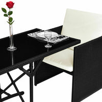 Rattan Dining Set Outdoor Black (3 Piece) with Cushions Wicker Rattan Furniture Set