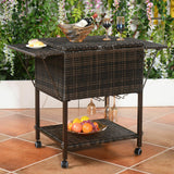 Rattan Cooler Cart Portable Ice Chest Great for Outdoor Patio Pool Party Brown