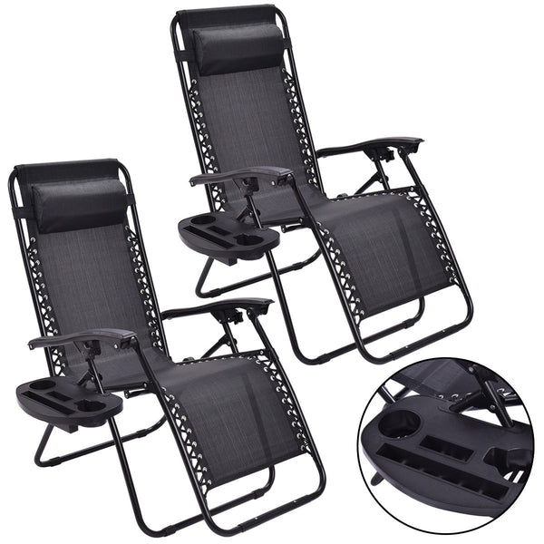 (2 Piece Set) Zero Gravity  Reclining Lounge Chair for Beach or Outdoor w/ Utility Tray (Black) - ModernKitchenMaker.com