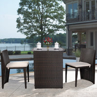 Outdoor Wicker Patio Set Stores Away Easily (3 Piece) - ModernKitchenMaker.com