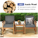 Outdoor Acacia Wood Sofa Patio Furniture Set with Gray Cushions