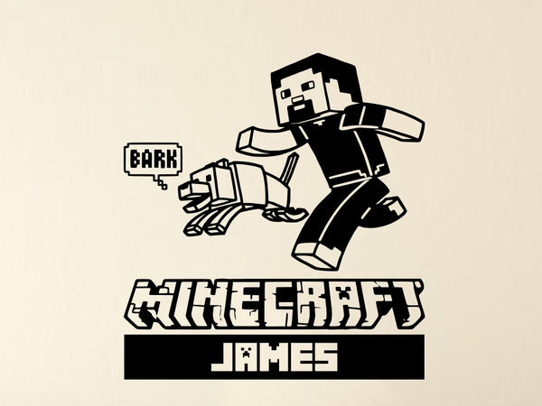 Minecraft Steve and Wolf Personalized Vinyl Wall Decal
