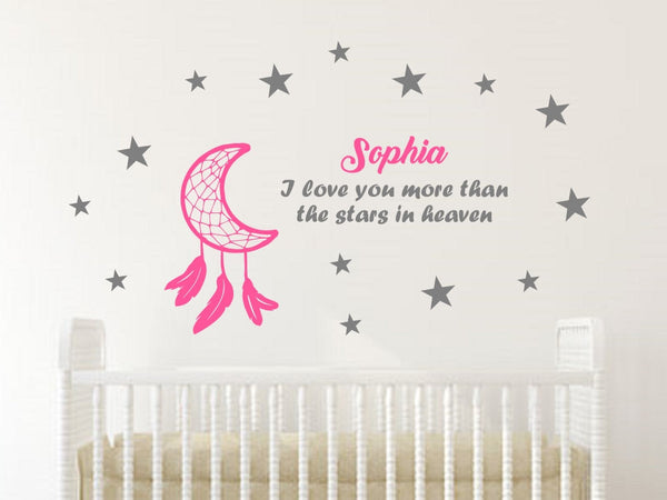 Personalized Dream Catcher and Quote with Baby's Name-Custom Vinyl Decal Stickers for Nurseries