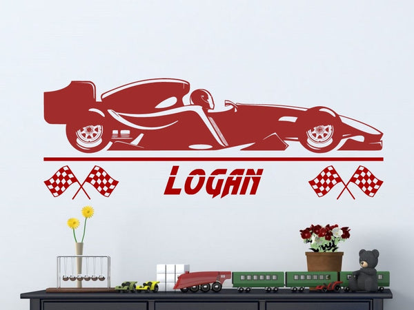 Formula 1 Race Car with Personalized Name | Custom Vinyl Wall Decal for Boys Room