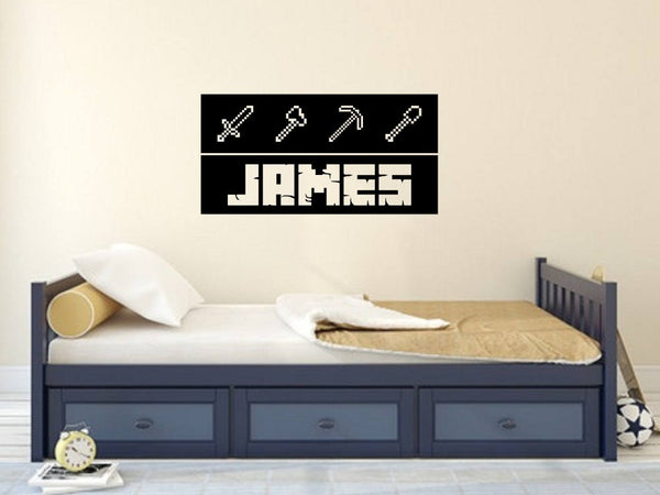 Mining Tools Personalized Vinyl Wall Decal for Gamers