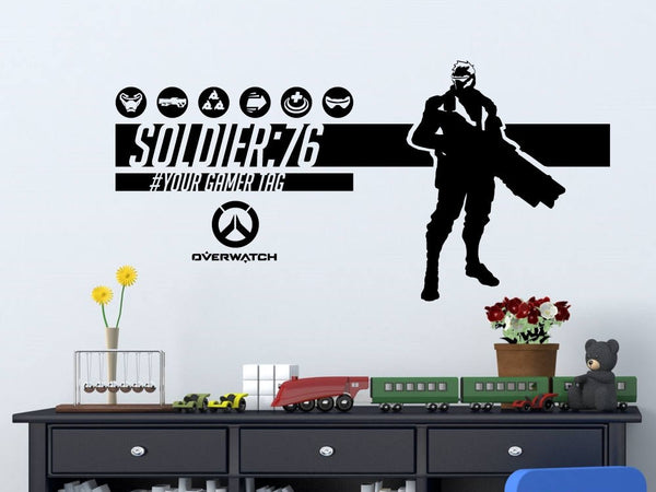 Overwatch Soldier 76 | Personalized Vinyl Wall Decal