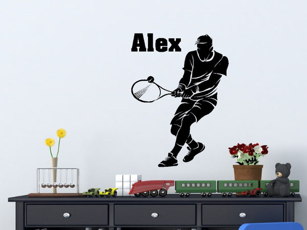 Tennis Player with Personalized Name - Custom Vinyl Decal Stickers for Bedrooms