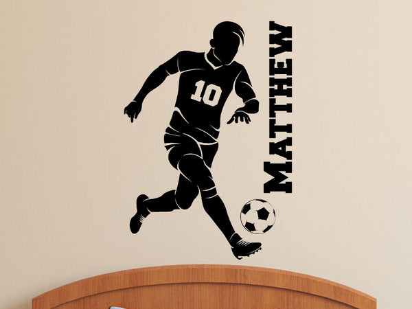 Soccer Player with Personalized Name and Number - Custom Vinyl Decal Stickers for Bedrooms