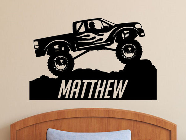 Monster Truck with Personalized Name - Custom Vinyl Decal Stickers for Bedrooms
