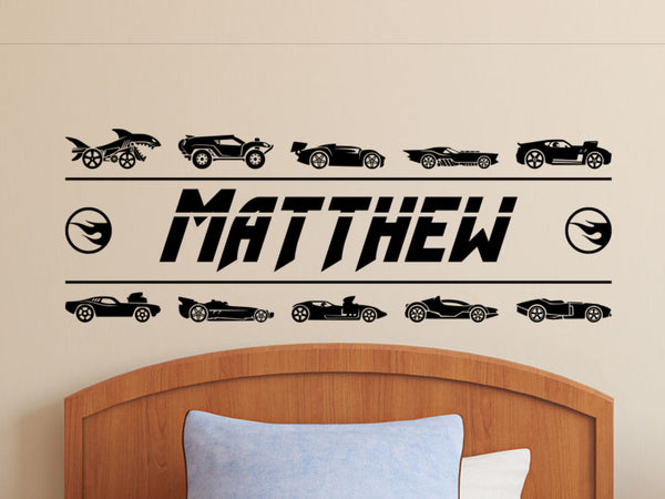 Race Car Wall Decal with Personalized Name |  Boys Room Decor Hot Wheels Sticker