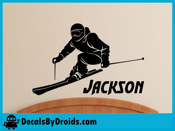 Skier Wall Decal with Personalized Name - Custom Vinyl Name Decal Stickers for Boys Room