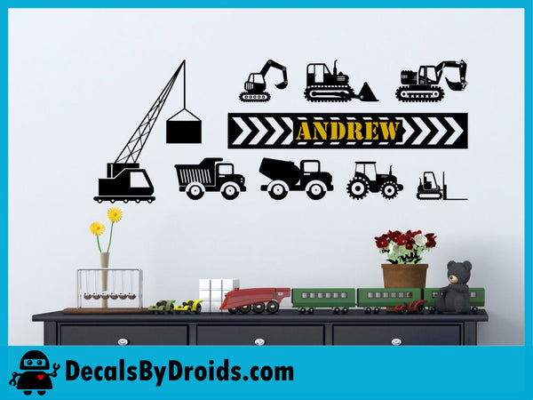 Construction Machines Personalized Vinyl Wall Decal