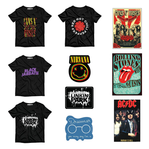 Pack Of 4 T-Shirt , 3 Stickers & 3 Posters