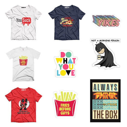 Pack Of 4 T-Shirt , 4 Stickers & 1 Posters