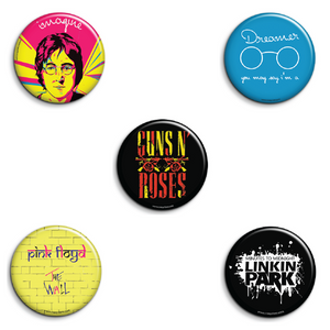 Rock Band Badges Pack of 5
