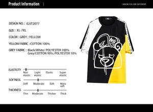 Cut and Sew Printed T-Shirt- 02JT2077