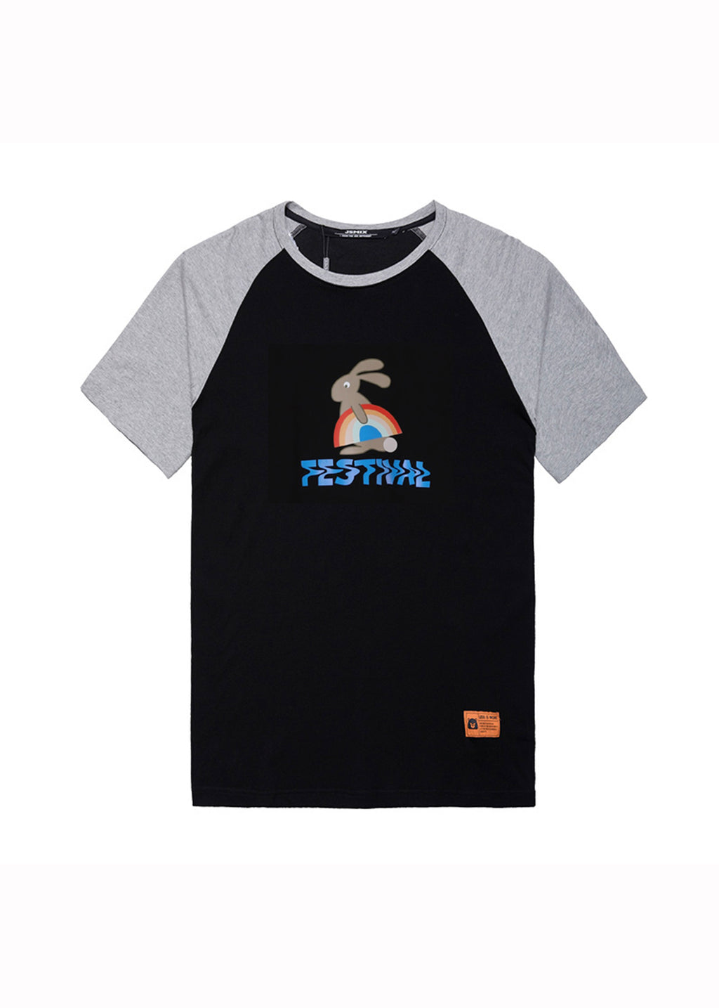 Rabbit Print Colorblock Panel T-shirt - 02JT3515