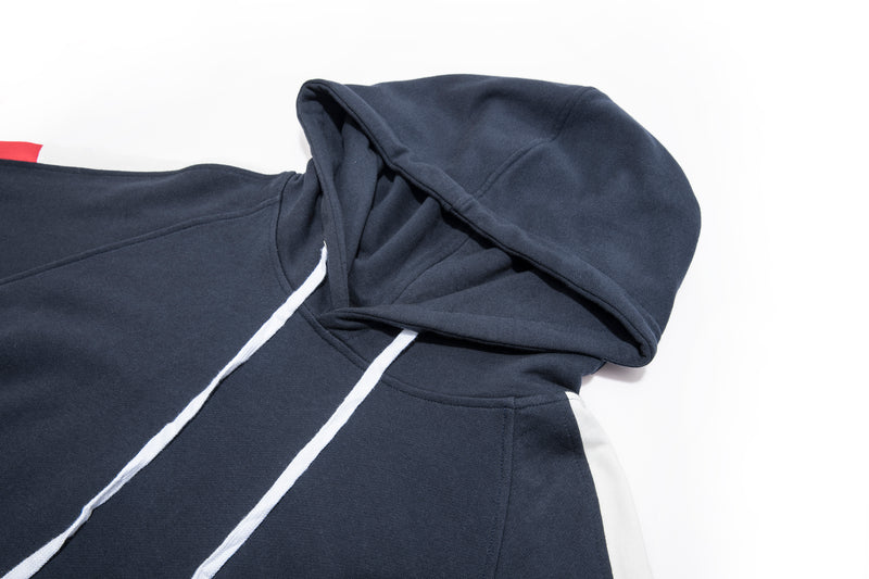 Drawstring Splicing Color Block Hoodie - 83JW1034