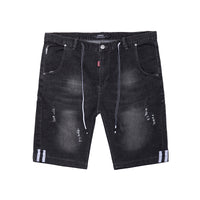 Distressed Light Wash Denim Shorts  - M92JN1463