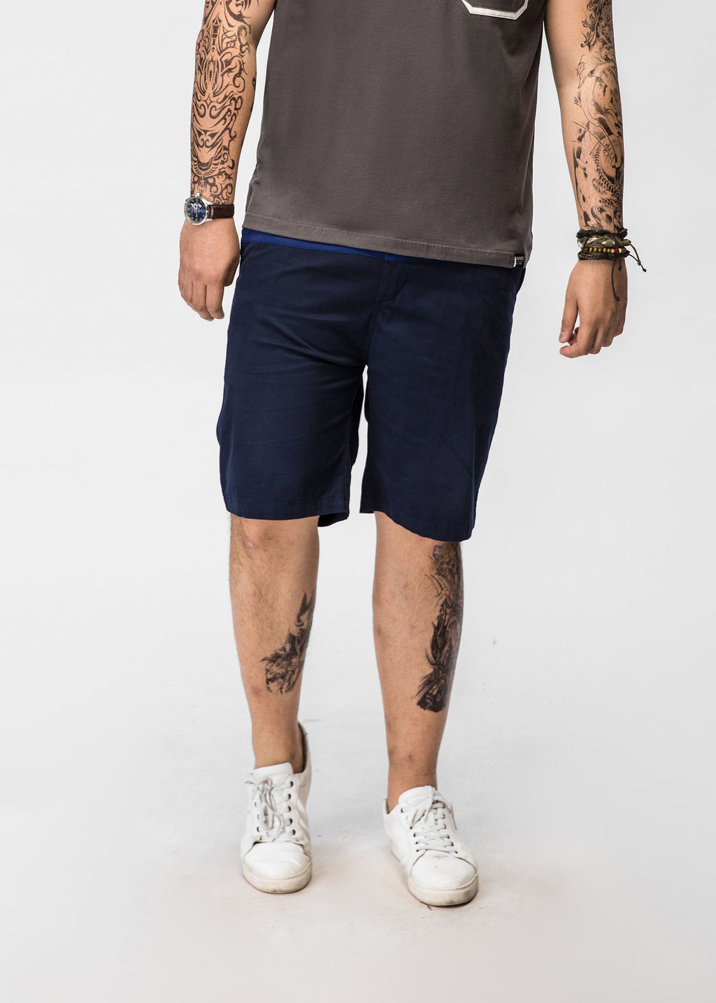 Color Block Chino Shorts   - 82JK0302