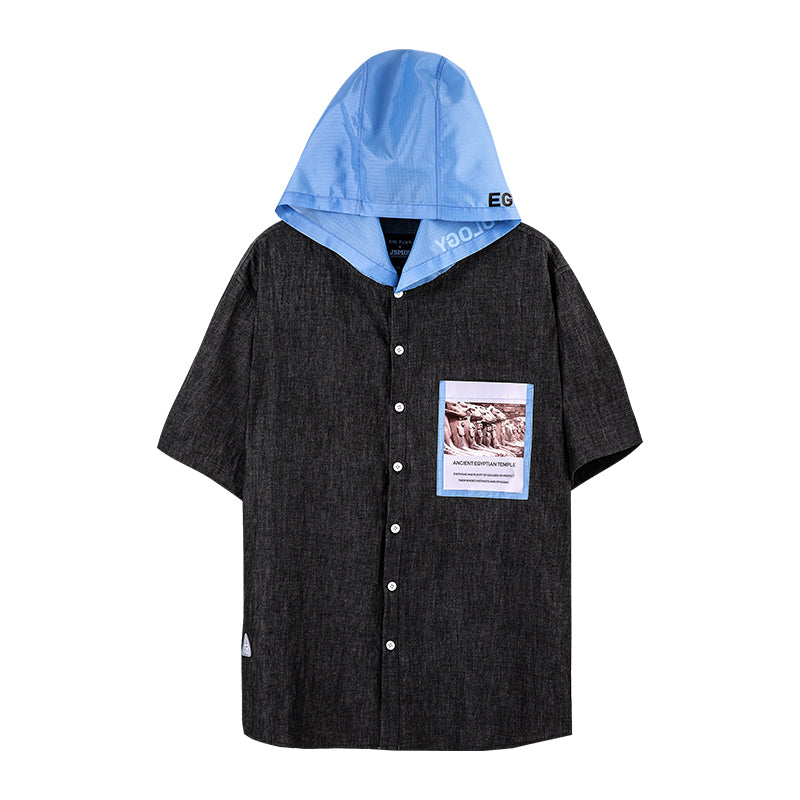 Contrast Pocket Hooded Shirt -02JC2282