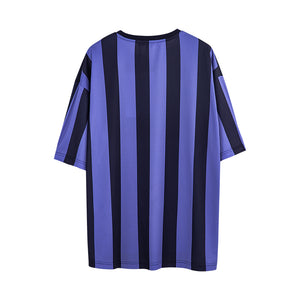 Color Block Letter Print Striped T-shirt - 02JT2415