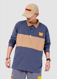 Cut and Sew Long Sleeve Polo Shirt - 03JL2433