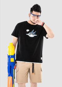 Cartoon Shark Print T-shirt - 02JT3509