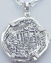 #7-1123  Atocha 4 Reale Coin Replica Pendant Sterling Silver THREE PIRATE SKULLS Bezel