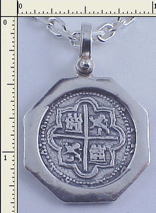 #7-7775  Atocha 2 Reale Coin Replica Pendant Sterling Silver Medium Port Hole Bezel